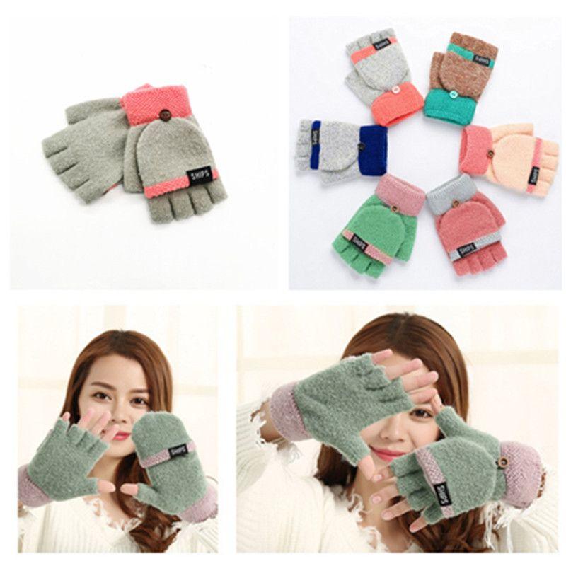Теплый Matching флип двойного назначения перчатки Женщины вязать Флип Половина Finger сенсорный экран Перчатки сгущает теплая шерсть митенки