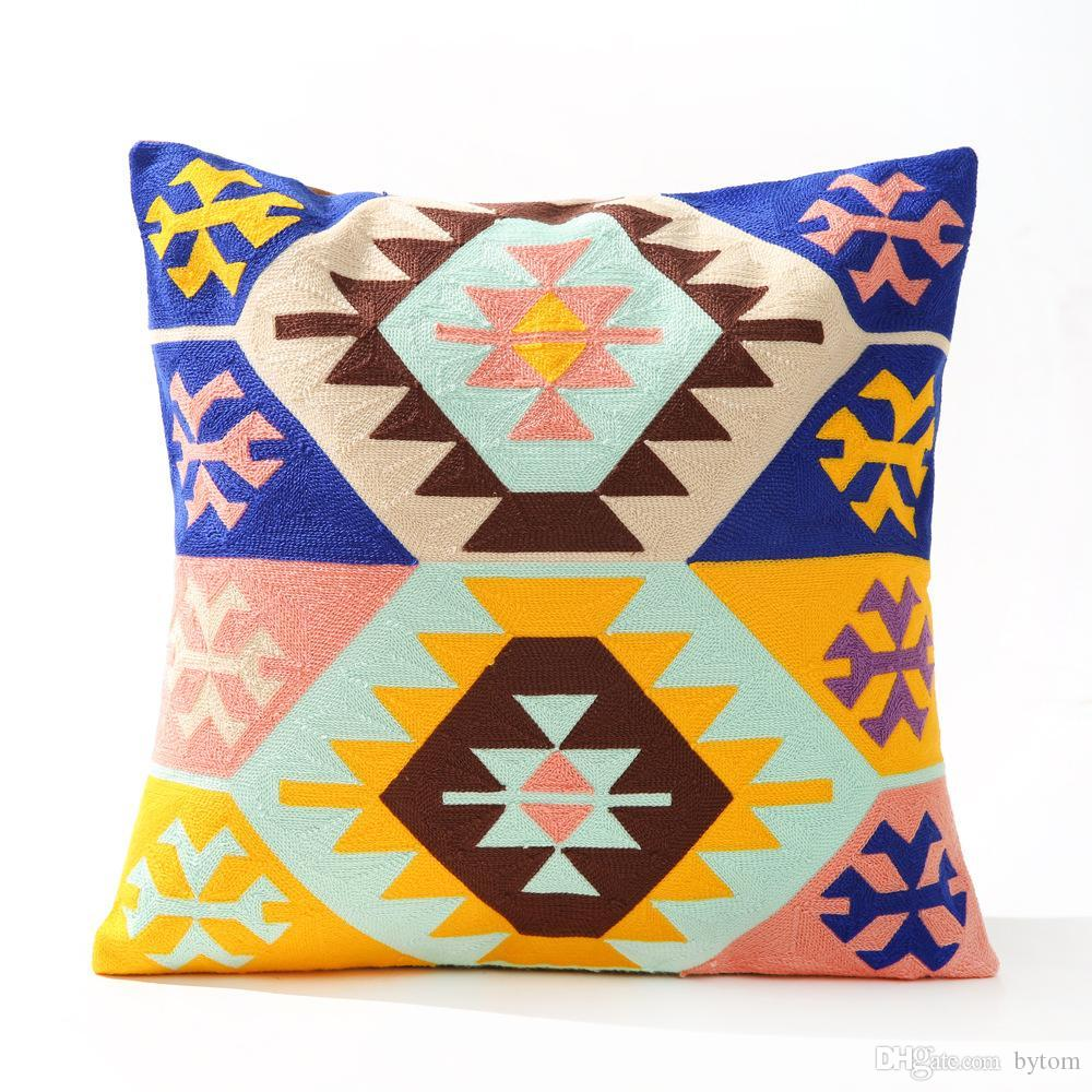 La lana brillante Color de la línea abstracta Nueva Bohemia color geométrica de algodón bordado bordado cojines del sofá mediterránea Inicio Pillow12