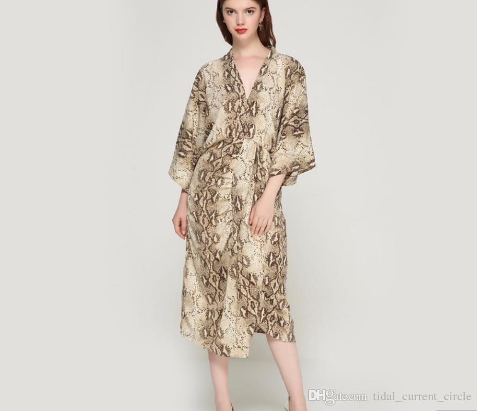 2019 women snake print oversized dress V neck elastic waist split ladies summer loose mid calf chic dresses