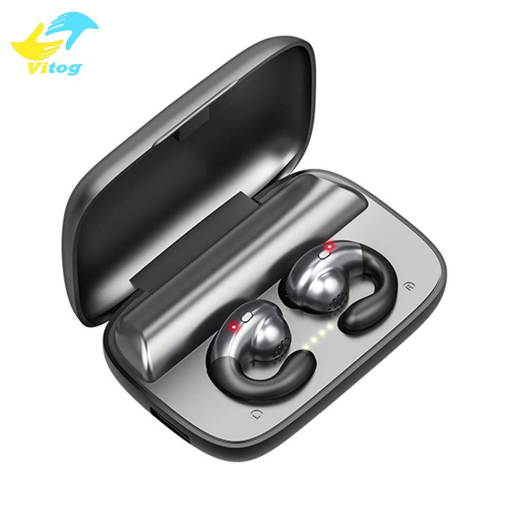 Vitog condução óssea Wireless Headphones S19 Bluetooth 5.0 fone de ouvido com 1800mAh de carregamento Caso sem fio Esportes Música Earbuds