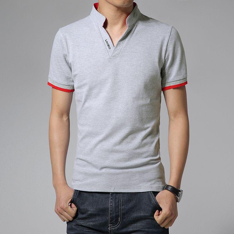 Venda quente 2019 Nova Moda Verão Mens T Camisas Com Decote Em V Slim Fit Manga Curta T Camisa Dos Homens Tendência Roupas Casuais T-shirt M-5xl Y19060601