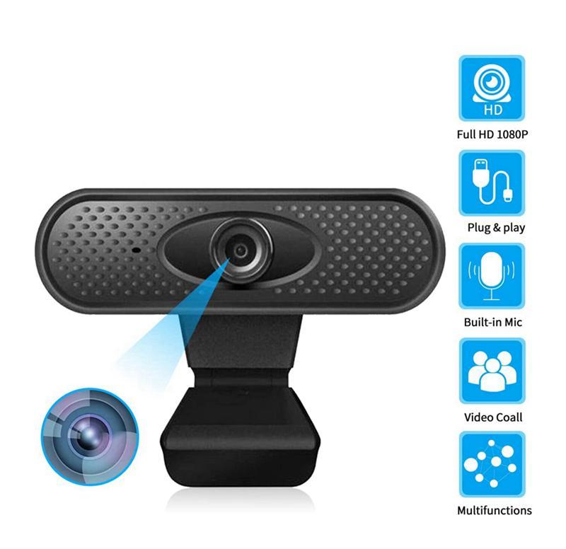 HD 1080P Webcam Pro, 5-мегапиксельная потоковая веб-камера с микрофоном шумоподавления, широкоэкранная USB-компьютерная камера