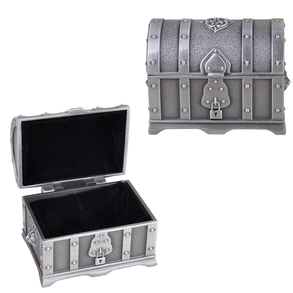 Zine Alloy metal Treasure Gold Coins Earring Jewelry holder Box Necklaces Organizer Electroplated Ring Retro Pirate Storage case