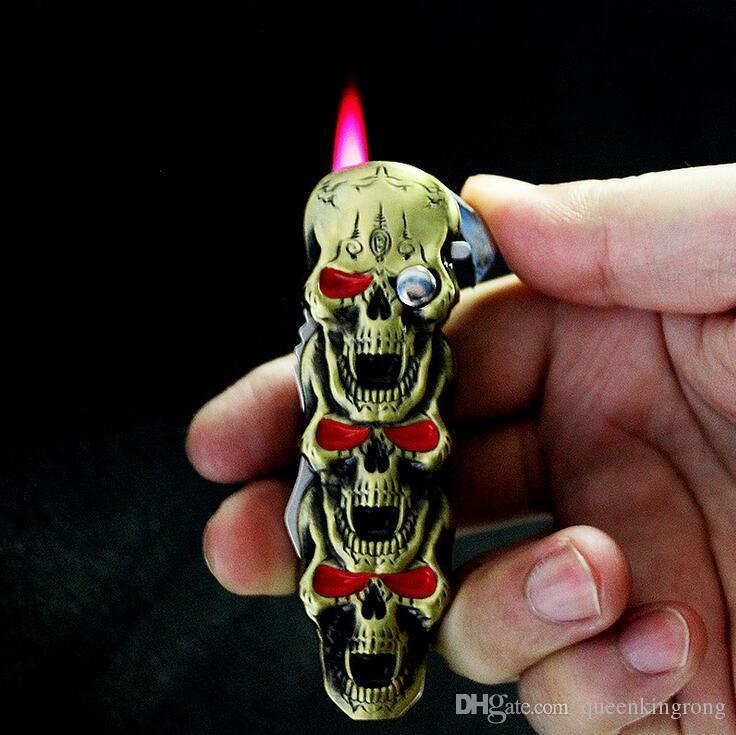 칼 야외 부엌 BBQ 두개골 골격 라이터 부탄 가스 라이터 제트 금속 방풍 2 일에서 창조적 인 리필