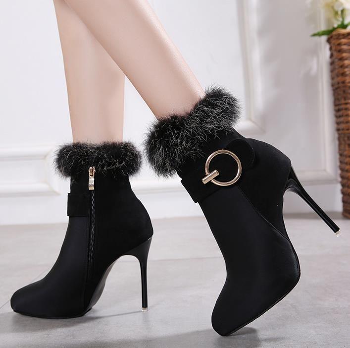 toka Sıcak Satış-kadın ayak bileği patik tasarımcı bot lüks moda kürk çizmeler 40'a yüksek topuk çizmeler boyutu 35 sivri