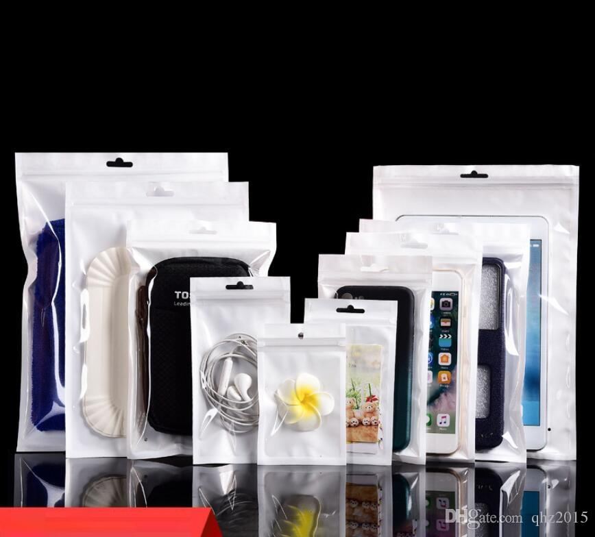 الأبيض / مسح صمام الأغلاق زيبر البلاستيك التجزئة التعبئة كيس بولي، سستة حقيبة التجزئة التخزين W / هانغ هول