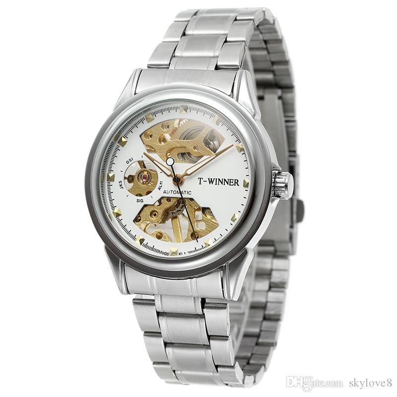 Les fabricants de gros gros montres mécaniques hommes gagnant de la marque automatique des montres simples d'affaires en acier inoxydable multi-couleurs creux