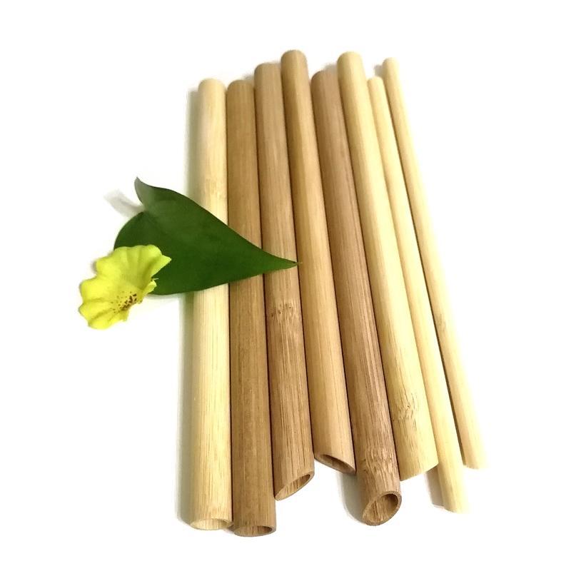 facile pulire cannucce di bambù di alta qualità riutilizzabile al 100% le estremità coniche naturale potabile tubo per il tè bolla