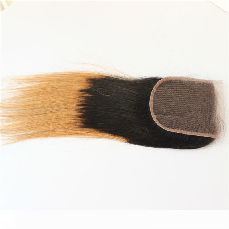 Ombre brasileña del pelo recto Cierre Dos 1b Tono 27 Rubio cordón del pelo humano de cierre nudos blanqueados envío rápido
