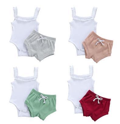 2020 Симпатичные Девочки ребристые-трикотажной одежды Наборы для новорожденных Baby Girl Summer рукавов Romper Топ + завязки Шорты Костюмы 0-24М