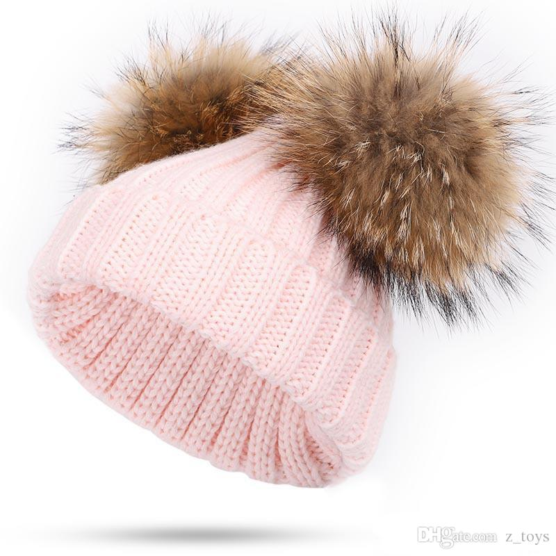 New Winter baby Knitted Hat Two real Fur Pompoms Ball Beanie Kids Caps Double Pom Pom Hat 8 colors free shipping