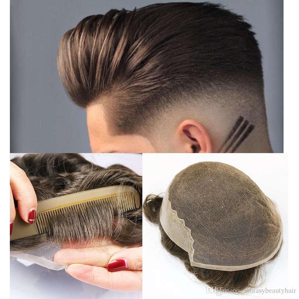 Французский шнурок с кожей Поли Мужчины Toupee фронта шнурка Мужчины парик Замена системы человеческих волос Шиньоны дышащая тупею для мужчин
