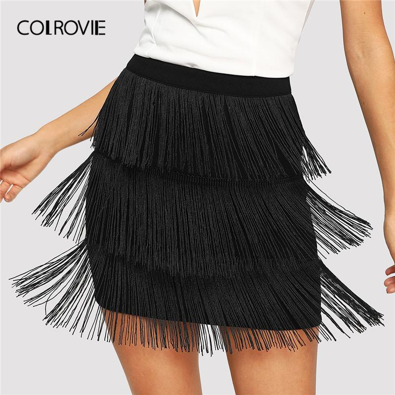 Colrovie Noir Taille Haute Layered Fringe Sexy Jupe Moulante 2019 Printemps Crayon Bureau Dame Jupes Pour Femmes Club Mini Jupe SH190720