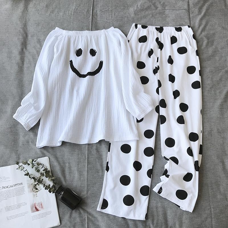 100% pantalones de algodón de Corea suelta de manga larga de las nuevas mujeres de los pijamas Delgado Casual minimalista de dos piezas traje de pijama de las mujeres Pijama Inicio