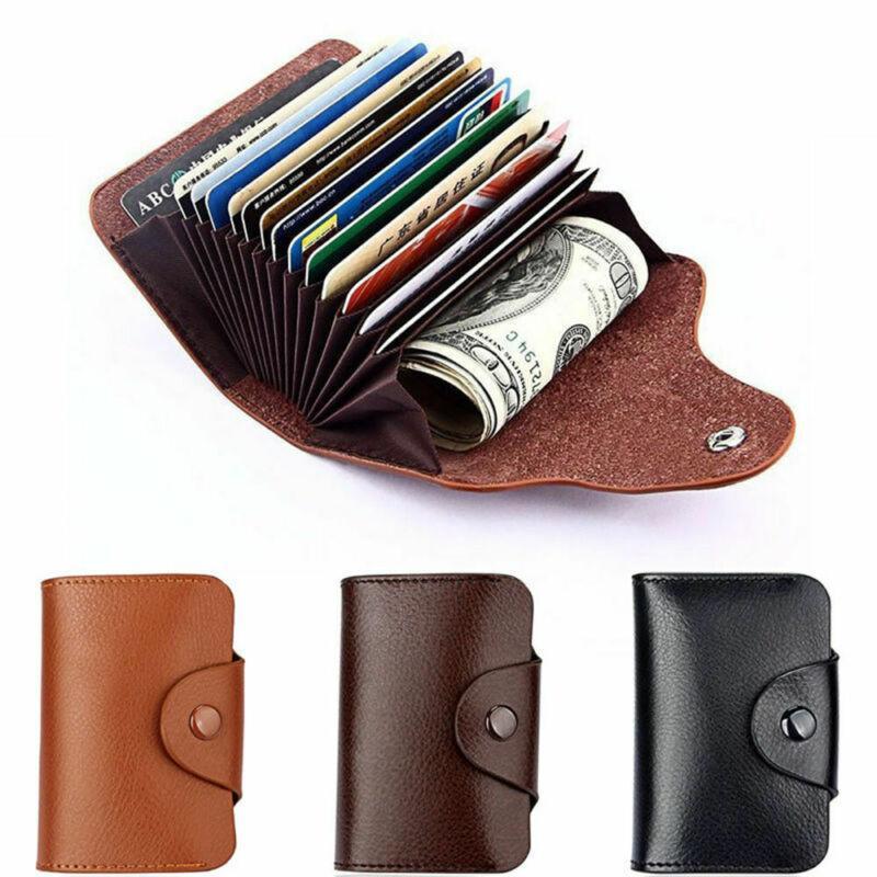 Mulheres Homens Couro alumínio RFID Carteira bloqueio bolso Titular para cartão de crédito