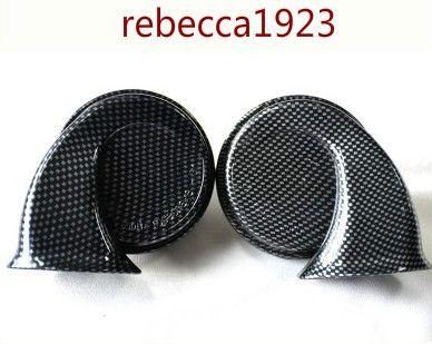 Araç boynuz Car salyangoz boynuz, yılan derisi desenli küçük kavisli salyangoz boynuz, 12V karbon fiber hoparlör, Evrensel hoparlör