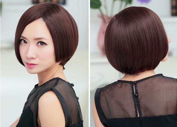 무료 해피 + + + 여성의 섹시한 패션 가발 짧은 갈색 스트레이트 밥 짧은 머리 가발