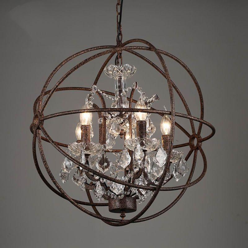 الرجعية خمر صدأ الحديد الثريات القفص E14 أسلوب كبير الثريا الكريستال بريق مصباح الإضاءة لشريط غرفة نوم وغرفة معيشة