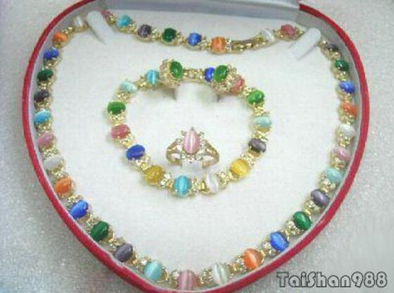 Orecchini di cristallo dell'anello del braccialetto della collana dell'opale 18KGP di verde rosa multicolore stabilito della giada di Jewelryr Trasporto libero