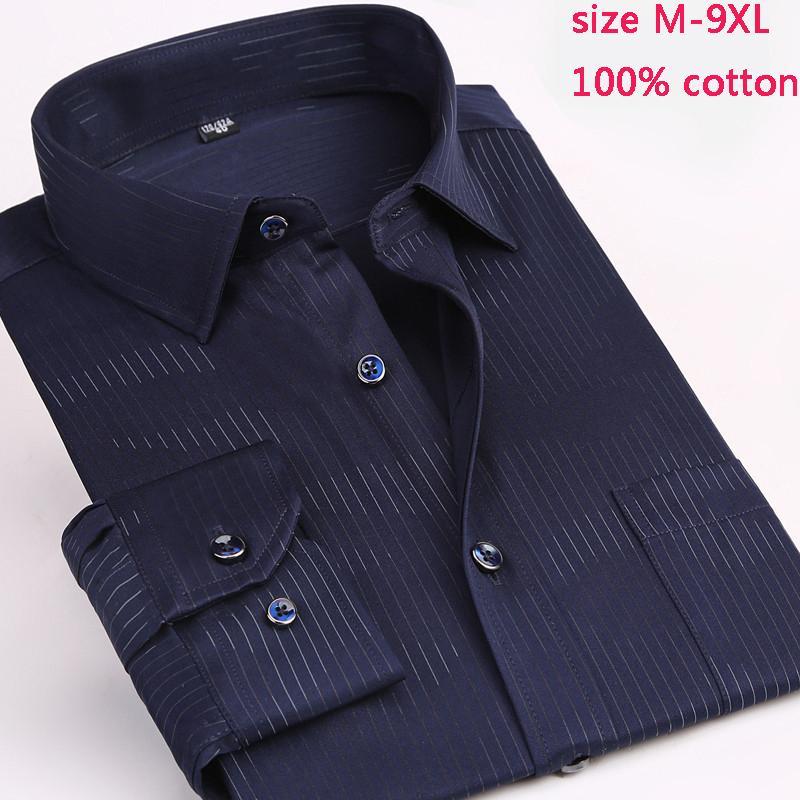 Yeni varış moda yüksek kaliteli Çizgili Erkekler Uzun Kollu Bahar Çok Büyük% 100 Pamuk Casual Gömlek artı boyutu MLXL2XL-8XL 9XL