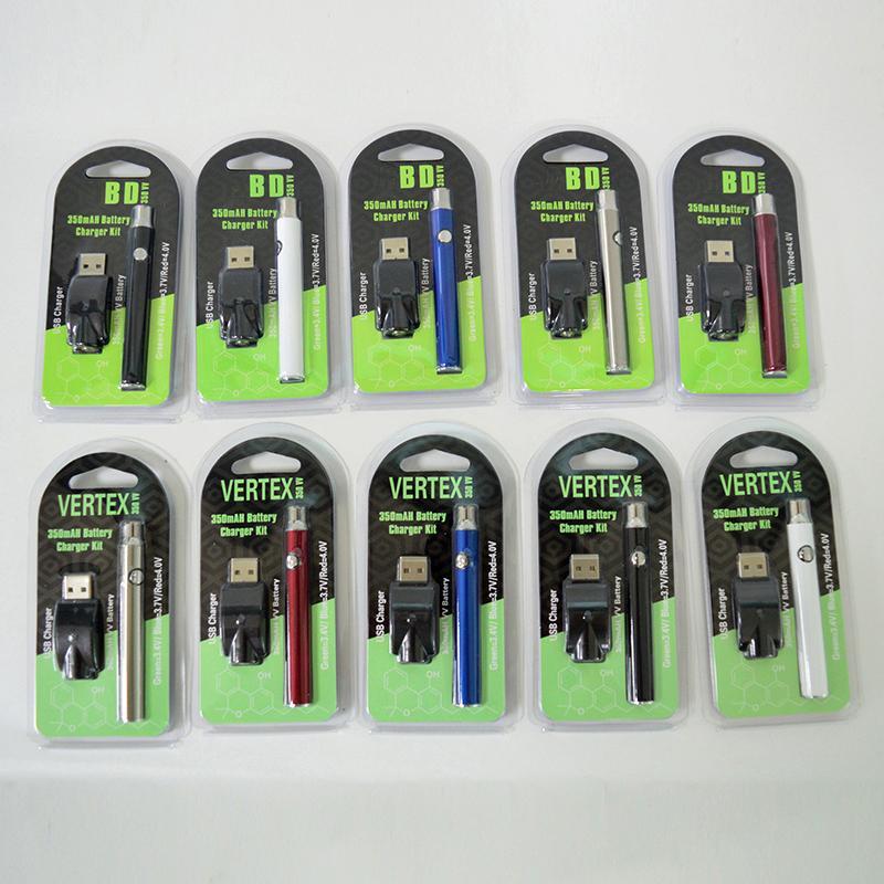 510 Konu Vape Pil Ön ısıtma Kartuş Pil 350mAh Değişken Voltaj Vertex 510 Vape Kalemler Pil Şarj edilebilir ecig Piller