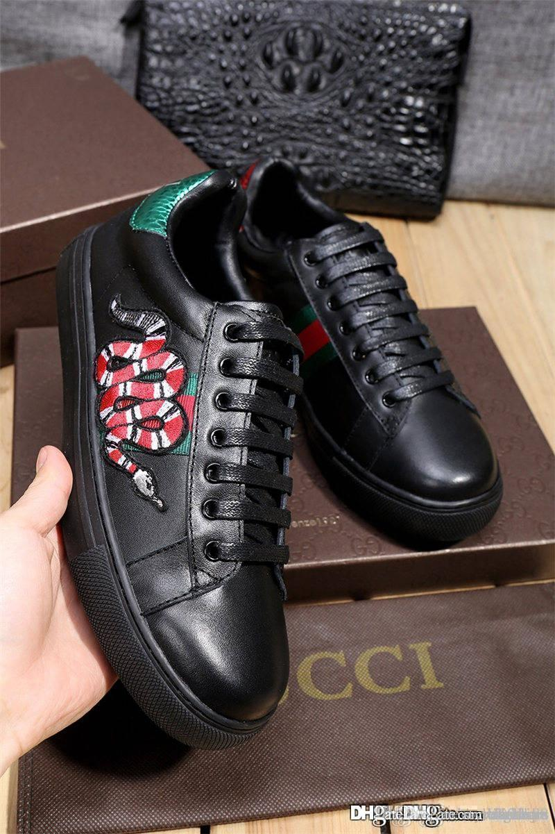 Designers Ace Snake Low top scarpe Ace ape bee White Leather Lace Up ace fly Sneakers Shoes With Box