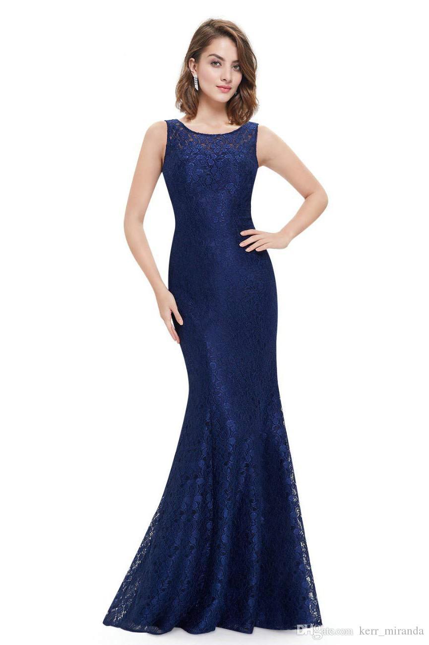 Navy Blue Lace Mermaid Long Модест мать невесты платья с коротким рукавом Простые элегантные платья матери к свадьбе