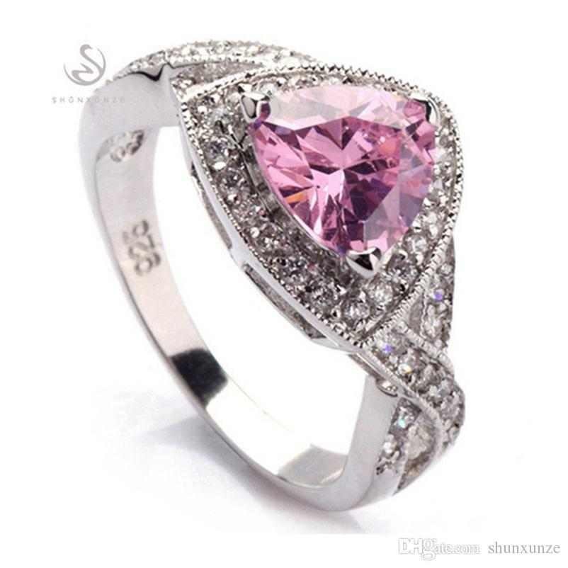 SHUNXUNZE First class products wedding rings Jewelry for women's clothing accessories dropshipping Pink Cubic Zirconia Rhodium Plated R380