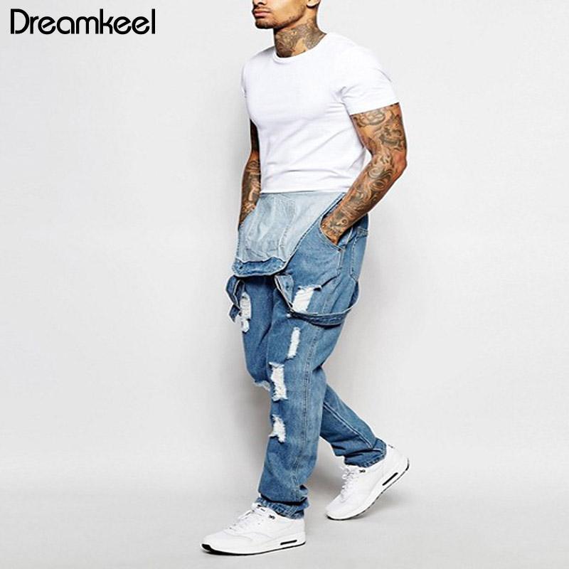 Hommes Slim Jeans Casual Salopette Pantalons Homme Jeans 2019 Hommes Denim Salopette Une Pièce Toute La Longueur Déchiré Jumpsuit Y