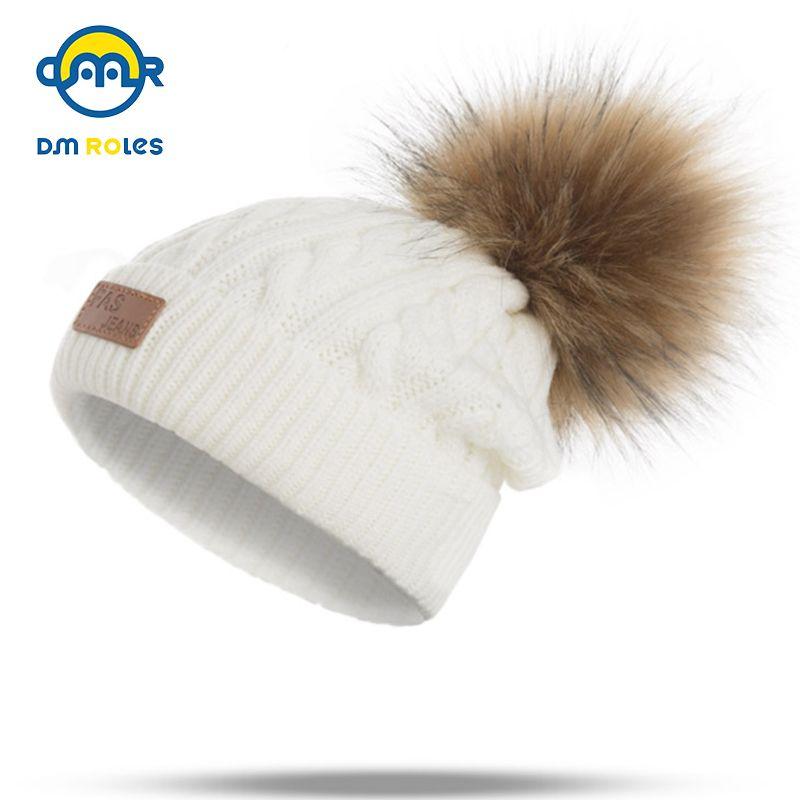 DMROLES 2018 Pom дети Зимняя шляпа для девочек шляпа вязаные шапочки Cap новый толстый ребенок Cap девочка зима теплая шляпа