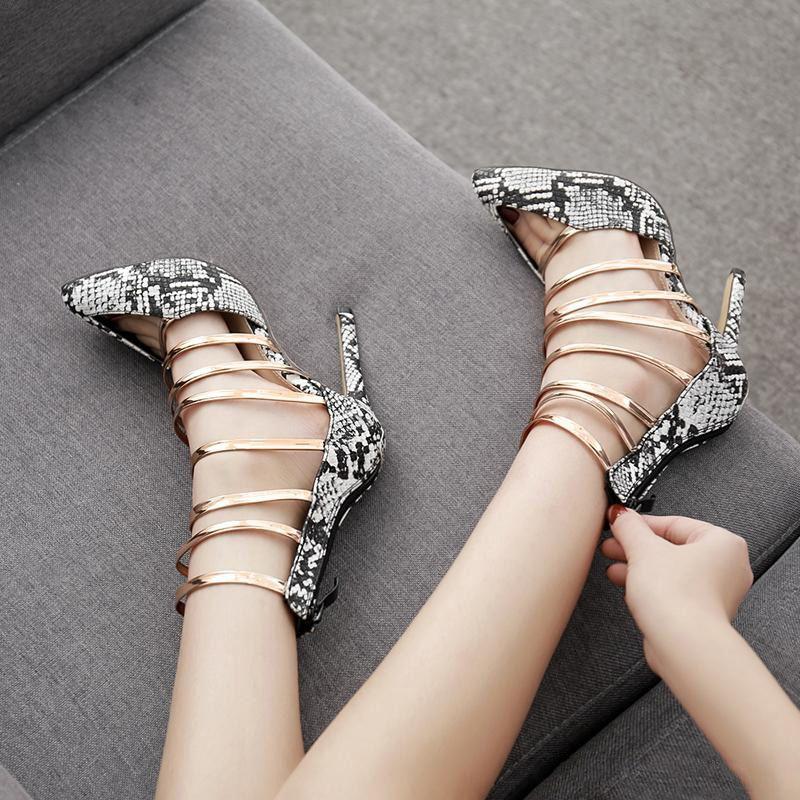 2019 lusso oro cinturino patchwork serpente stampe grano scava fuori pompe a punta scarpe da donna progettista taglia 35 a 40