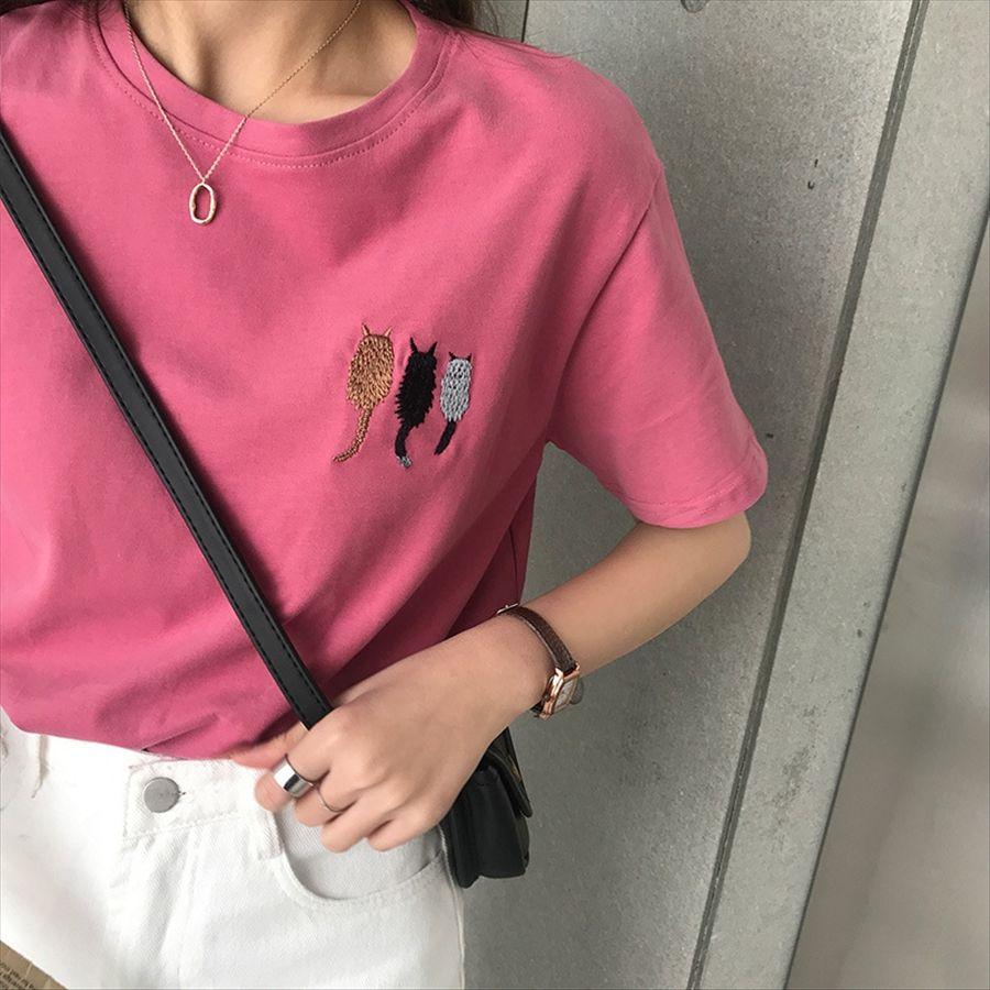 2020 милый кот рисунок вышивки простой рыхлый тонкий универсальный хлопка с коротким рукавом футболки женщина 2020 милый кот рисунок вышивки простой Лоо