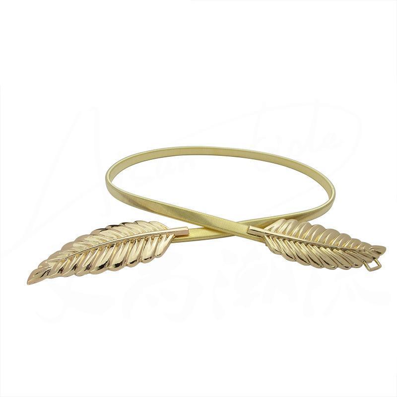 Acessórios saias vestidos Novidade Duplo Golden Leaves Decoração Belt Buckle metal Primavera flexível Elastic Belt Cadeia Casual Moda