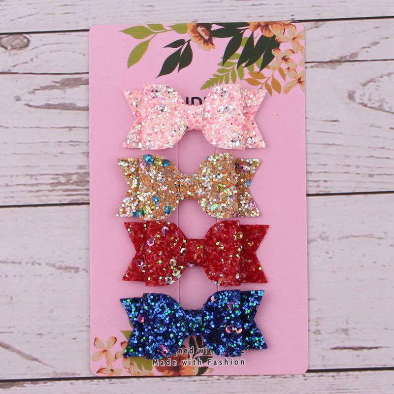 Cute Hair Clip Bow Girls Double Glitter PU Leather Cartoon Hairpins Accessories