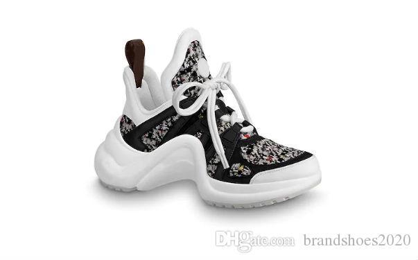 2019 Moda yeni Siyah Günlük Ayakkabılar Beyaz Mavi Monogram Siyah ARCHLIGHT Ayakkabı Kutusu ile Gerçek Deri Eğitmenler Runner Ayakkabı sneakers
