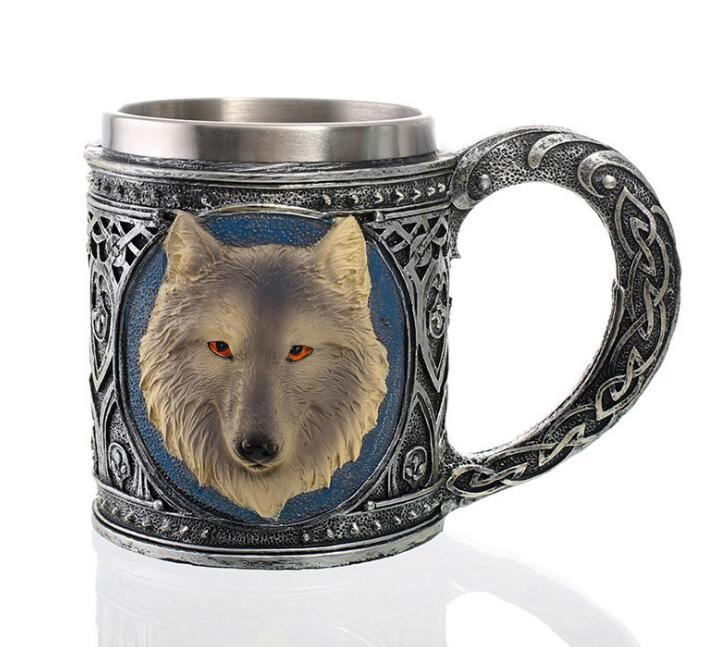 Alpha Lupo grigio celtico tribale Magia resina 16 once tazza con Orlo dell'acciaio inossidabile Figurine Per Caffè Tè cereali bevande Halloween Party Hosting
