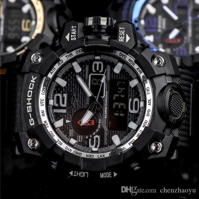 Les nouveaux hommes de mode Montres Bracelet G de style extérieur Quartz montre-bracelet de choc de haute qualité LED Horloge numérique pour Relojes Hombre Saat cadeau