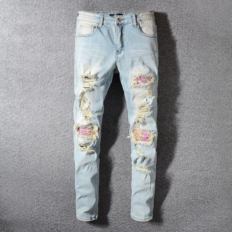 Miri clásico al por mayor de Hip Hop de los pantalones vaqueros de diseño pantalones para hombre recto delgado del motorista flacos Loophole Jeans Hombres Mujeres pantalones vaqueros rasgados
