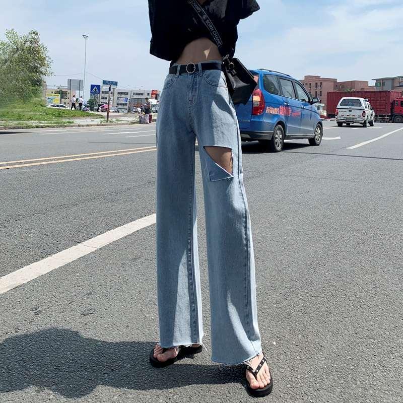 2020 Летняя мода весна джинсовые широкие ноги штаны Женщины Vintage высокой талией с поясом Джинсы Повседневный Сыпучие Hole Брюки Femal FY460