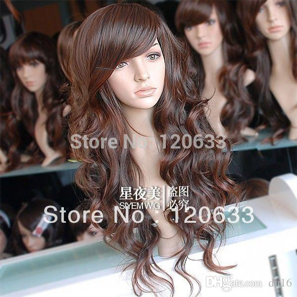 peruvian virgin pad Wholesale Hair Nature Cheap 100% Kanekalon hair women's no lace Girls Fashion Style Long brown Cosplay Wig