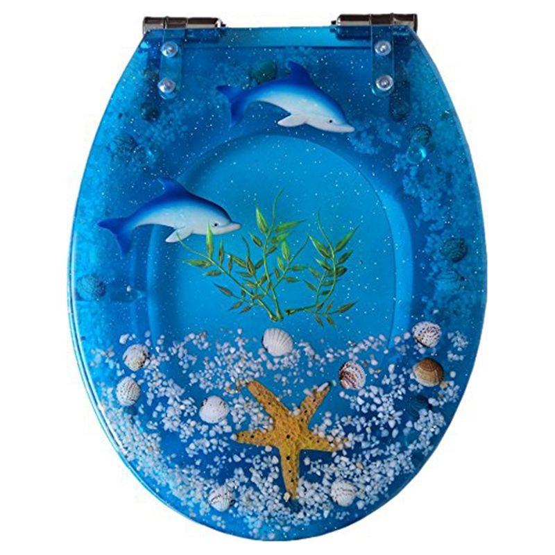 Arte Cerca de la resina del inodoro con tapa, Efectos 3D Heavy Duty tapa del inodoro con delfines, estrellas de mar, conchas de mar y arena real S Type