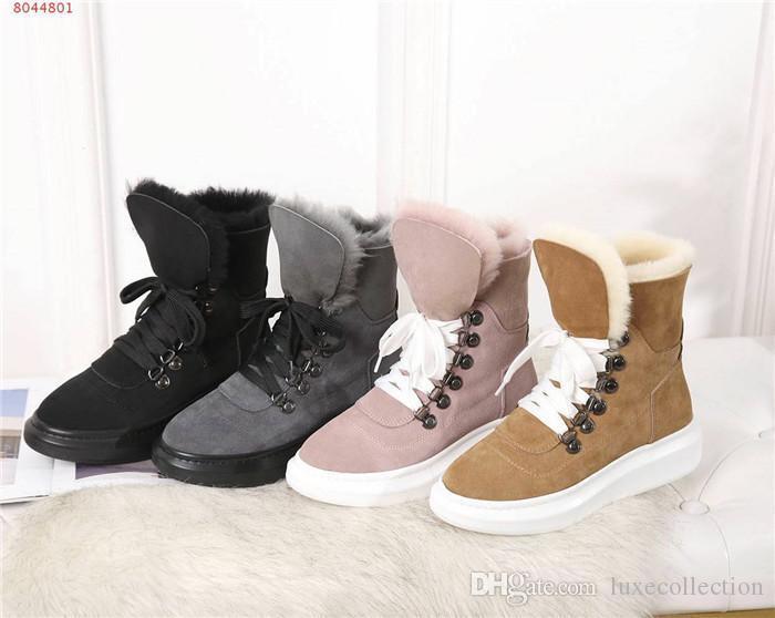 Womens bottes de neige en peau de mouton et de la fourrure tout en un, d'hiver en cuir des bottes courtes en laine épaisse fond, sports de loisirs Plate-forme chaussures assorties emballage