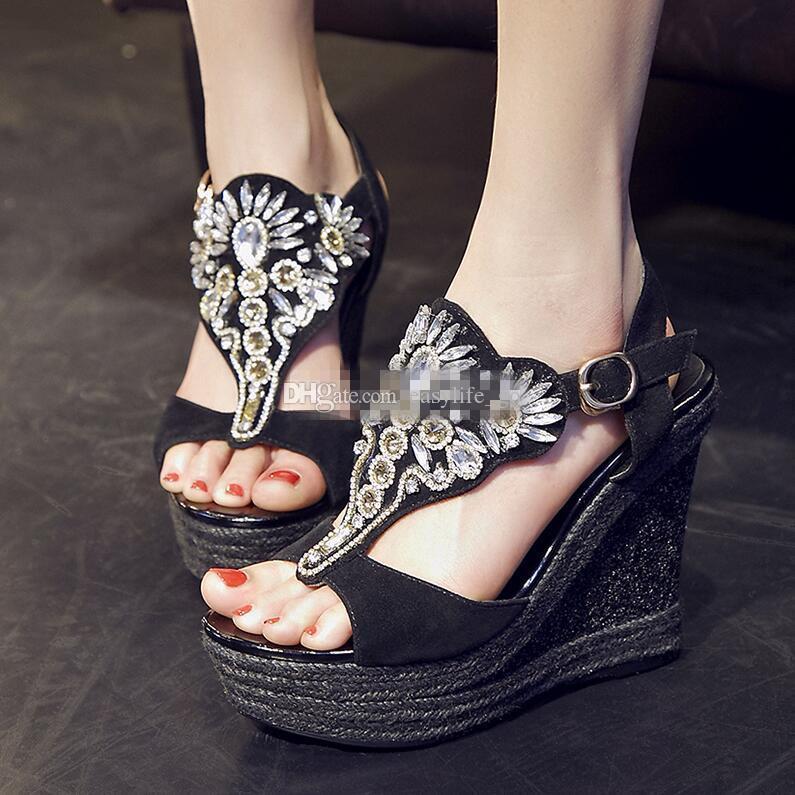 2019 Sıcak satış kadın sandalet taklidi platformu kama kristal tacons ayak bileği kayışı gladyatör topuklu parti elbise sandalias mujer kadın sandalet