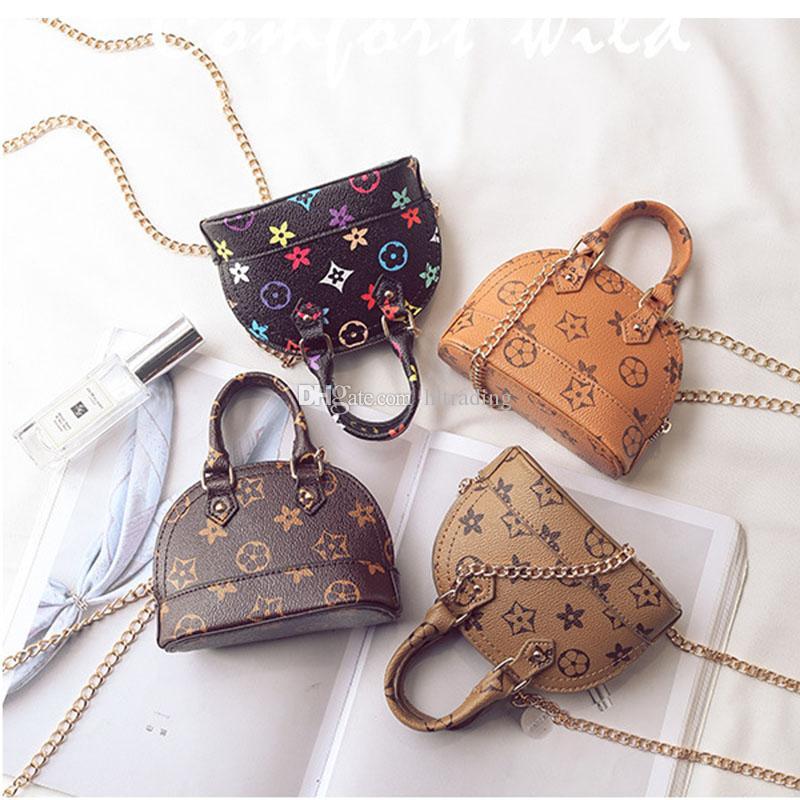 Çocuklar Çantalar Kore Moda baskı Tasarımcı bebek Çanta Genç Kızlar Mini Messenger Çanta Çocuk PU Shell Omuz Çantaları C5601