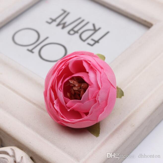 ارتفع DIY البسيطة زينة زهرة اصطناعية رؤساء الزهور الحرير الاصطناعي كاميليا روز رئيس وهمية الشاي ارتفع برعم
