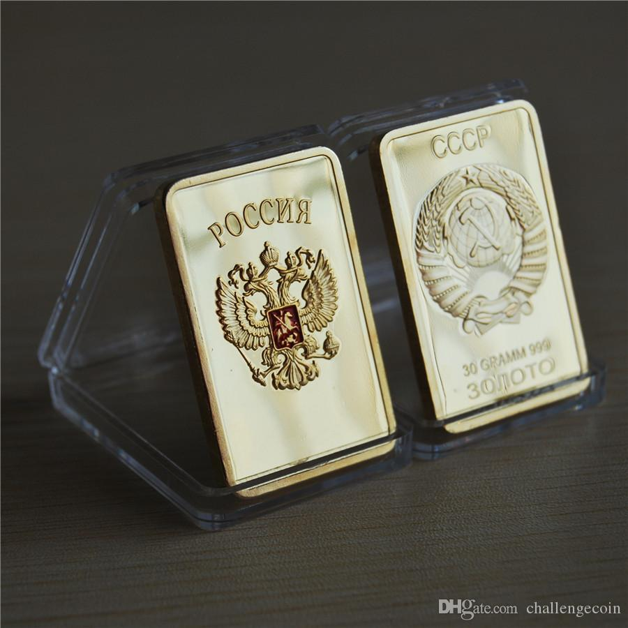 Free Shipping 10Pcs, Collectible Russian map ingot bar 1 OZ 24K real gold plated badge 50 x 28 mm Russia souvenir coin
