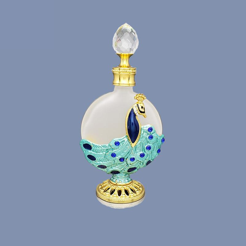1PC 8-20ML Vintage Metal Perfume Bottle Arab Style Essential Oils Dropper Bottle Container Middle East Weeding Decoration Gift