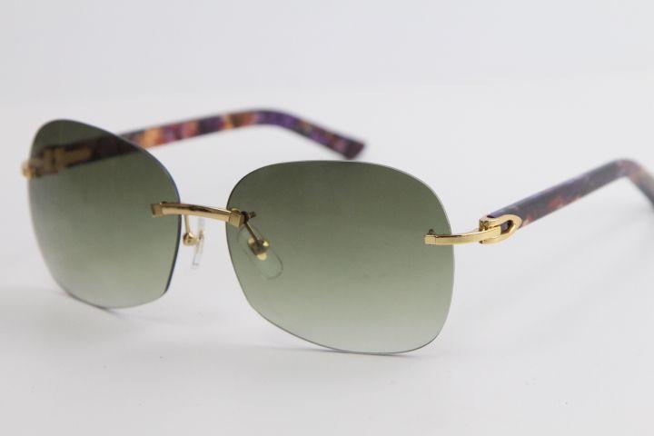 판매 무테 금속 선글라스 대리석 퍼플 판자 스타일 아웃 도어 디자인은 클래식 모델은 안경 8100908 남성과 여성을 오버 사이즈