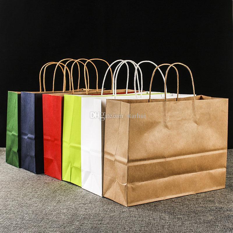 Nuovo sacchetto di carta Kraft ecologico per uso domestico Sacchetto regalo portatile con manici Sacchetto di imballaggio per negozi Sacchetti per la spesa Confezione regalo WX9-1166