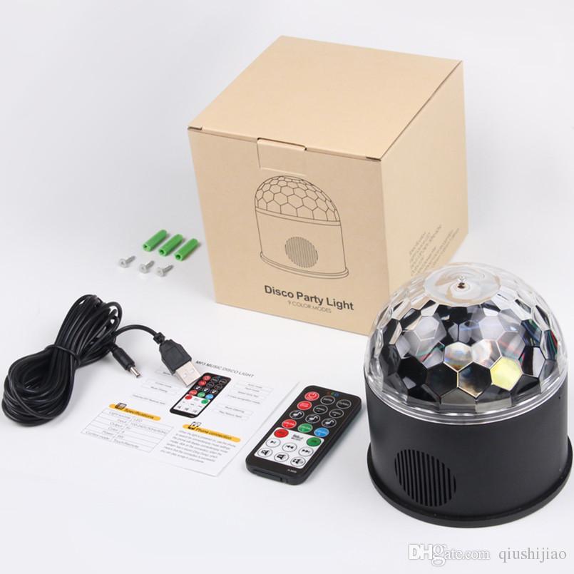 Mini USB Remote Bluetooth Play Music 9 Color LED Magic Ball Light DJ KTV Bar Stage Light Birthday Holiday Christmas Party Effect Light